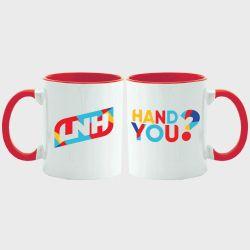 Mug Bicolore BLANC ROUGE Logo Hand You et Logo LNH
