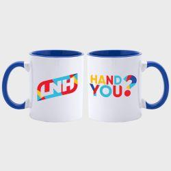 Mug Bicolore BLANC BLEU Logo Hand You et Logo LNH
