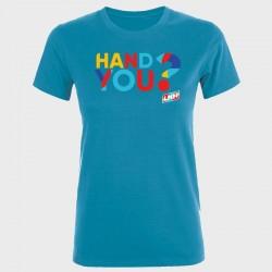 T-shirt femme bleu Hand you ?
