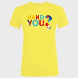 T-shirt femme jaune Hand you ?